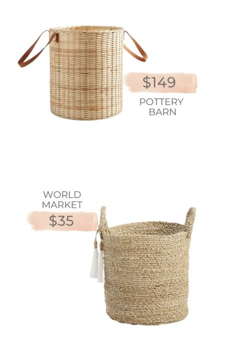 Pottery Barn woven basket dupe from World Market!   #LTKunder50 #LTKsalealert #LTKhome