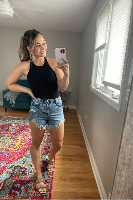 Today's outfit! These jean shorts are only $15!!! My bodysuit it under $30 and comes in 7 colors and these sandals and gold hoops are amazon finds! http://liketk.it/3hGFB #liketkit @liketoknow.it #LTKunder50 #LTKshoecrush #LTKtravel