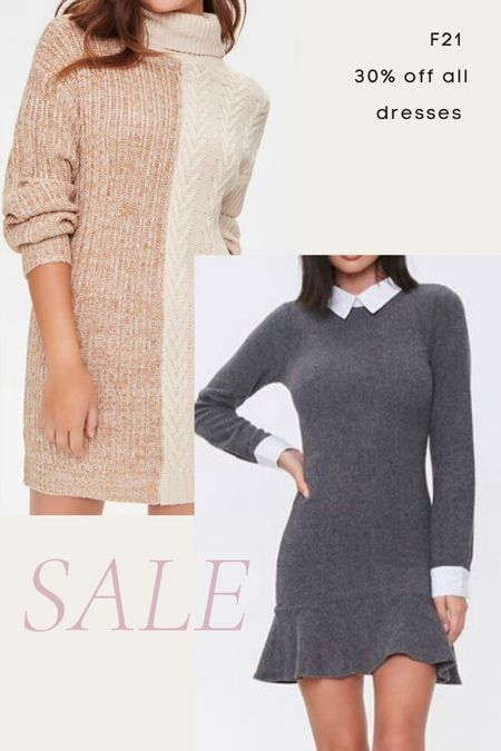Forever 21 fall dresses sale, fall dress, sweater dress, knit dress, turtleneck dress, oversized sweater, preppy dress, collar dress, shirt dress   #LTKunder100 #LTKsalealert #LTKunder50
