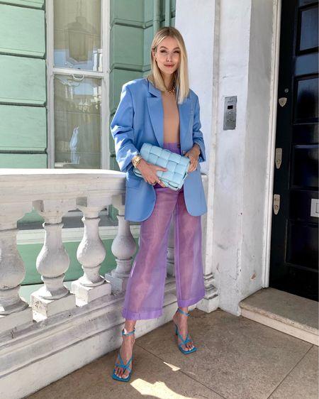 Happy Colour Palette 🦋  Matching my favourite blue Bottega Veneta strap sandals and cassette bag with purple organza Nanushka pants #LTKspring #LTKstyletip #LTKitbag #liketkit @liketoknow.it http://liketk.it/2NaFK