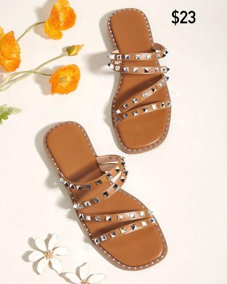 Studded decor slide sandals / Steve Madden dupes / http://liketk.it/3jdor #liketkit @liketoknow.it #LTKshoecrush #LTKstyletip #LTKunder50