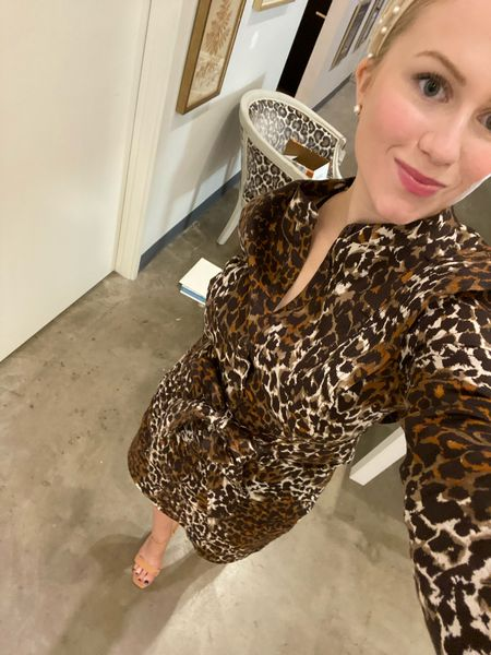 Seeing spots 🐆 wearing a size 2 and fits TTS. #veronicabeard #pearls #dresses   #LTKfit #LTKworkwear