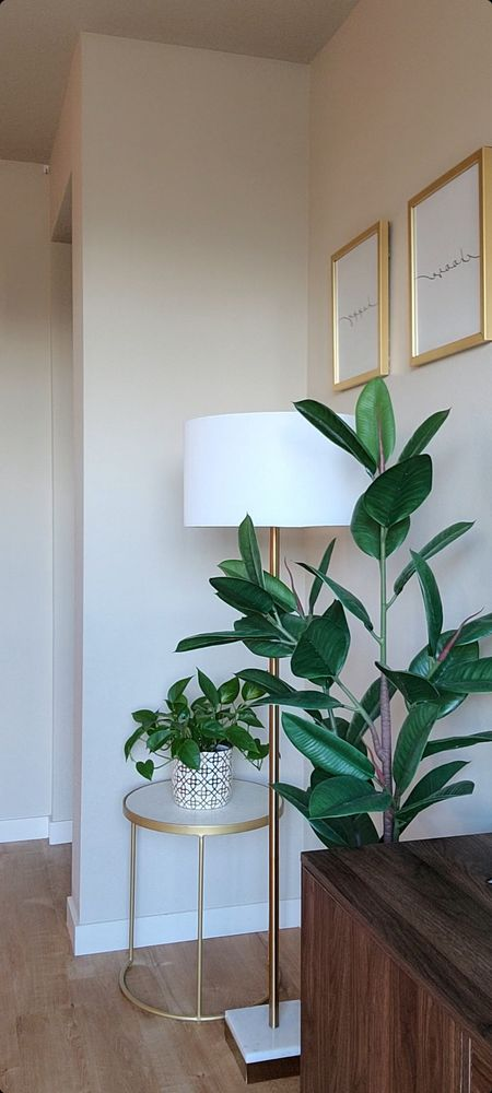 Marble base gold floor lamp Marble side table #worldmarkettable #marbletable #sidetable http://liketk.it/3nJrW @liketoknow.it #liketkit #ltkhome #homedecor #livingroomdecor