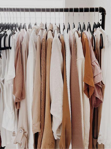 Minimalist wardrobe 🤎🤍 clothing rack + black velvet hangers | Amazon finds ✨  #LTKstyletip #LTKunder100 #LTKhome