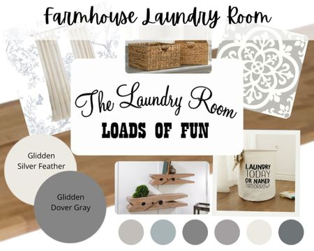 Farmhouse style laundry room design. Pull this look together with this curated design. Includes paint colors, flooring, and accessories.   #LTKhome #LTKstyletip #LTKfamily