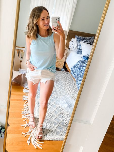 I felt like the shorts were too short for me, but if you love a short short these are for you! I also love this blue top because you can wear it for working out and for casual outfits!  #LTKstyletip #LTKfit #LTKunder100