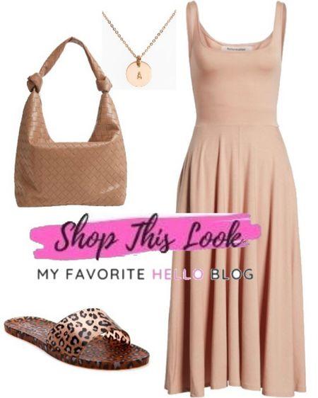 Vacation dress with leopard print slides. What shoes to wear with a blush dress.  http://liketk.it/3iR5m #liketkit @liketoknow.it   #LTKstyletip #LTKshoecrush #LTKtravel
