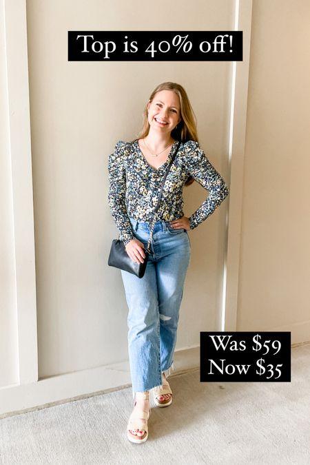 Puff sleeve floral fall blouse is 40% off at LOFT! Wearing an XS.   #LTKunder50 #LTKSeasonal #LTKsalealert