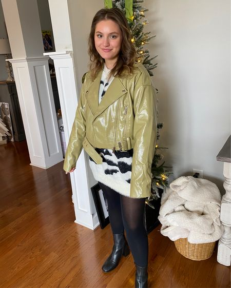 Christmas Day look! love this green jacket - sweater is from a boutique, but linked similar, wearing it as a sweater dress! http://liketk.it/35739 #liketkit @liketoknow.it