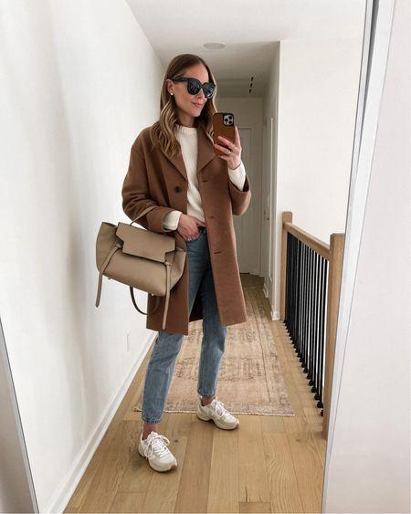 Camel coat, white sweater, Levi's jeans, Veja sneakers, #falloutfits #veja #sneakers #camelcoat #sweaters   #LTKsalealert #LTKshoecrush #LTKstyletip