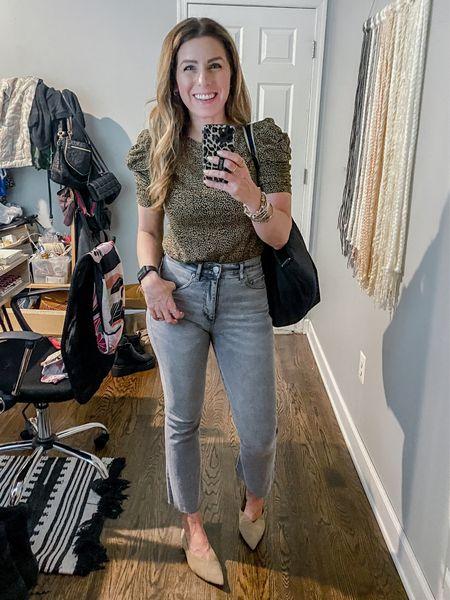 Leopard Puff Sleeve Tee (XS)  Gray Crop Jeans (26)  #LTKunder100 #LTKworkwear #LTKsalealert