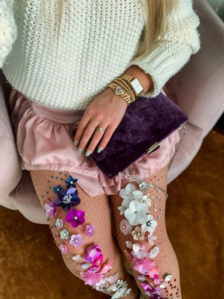 Add some fun tights to your fall wardrobe🌸✨Also make a unique gift  #tights #florals #floraltights #embelishedtights #dressup #halloween #accessories   #LTKGiftGuide #LTKHoliday #LTKstyletip