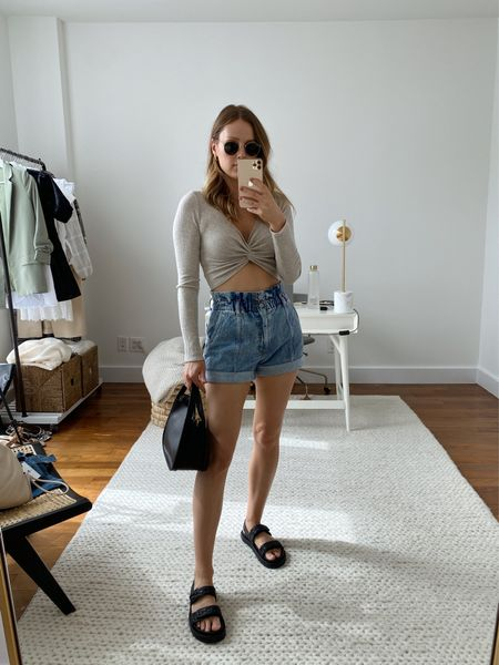 Love these Abercrombie paperbag shorts paired with a cropped twist top! Linked some similar options included in the NSALE.   #LTKunder50 #LTKunder100 #LTKSeasonal