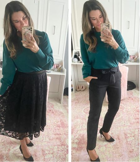 How to style a green sweater - use code CANDACE15 to save 15% off my skirt and top. Everything is true to size. Wearing a small in each piece. #justpostedblog  Holiday Gibsonlook Skirt   #LTKHoliday #LTKstyletip #LTKSeasonal