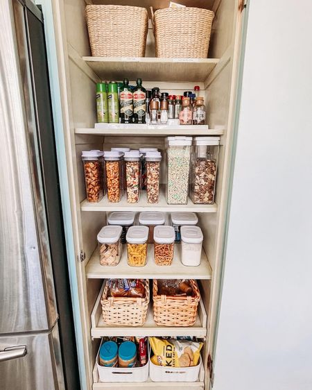 My favorite home organization products. How I organize my pantry.    Pantry organization. Kitchen organization. Container store. Target finds. Organize with me. Baskets. Organization tips. Organization finds. Home finds. http://liketk.it/38aU4 #liketkit @liketoknow.it #StayHomeWithLTK #LTKunder50 #LTKhome