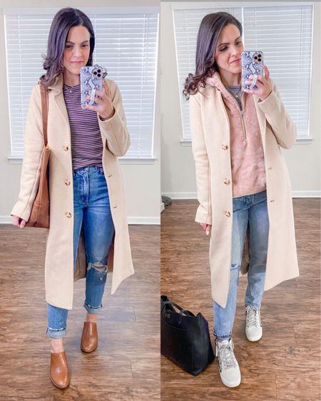 Ways to wear a Dad camel coat (xs) // style with denim http://liketk.it/38G1l  #liketkit @liketoknow.it #LTKstyletip