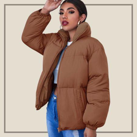 High neck zip up puffer coat jacket   #LTKunder50 #LTKunder100 #LTKstyletip