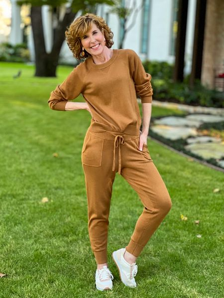 Joggers, loungewear, brown joggers, JCrew Joggers, brown earrings,Track sneakers, brown sneakers, flat solder sneakers, everyday sneakers  These elevated joggers & sweatshirt come in lots of colors and they are cotton cashmere for softness & comfort. On sale right now!    #LTKunder100 #LTKSeasonal #LTKsalealert