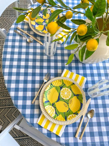 Ideas for outdoor summer gatherings on your patio, deck, or porch! All sources including plates, tablecloth, folding chairs, plant baskets, and more are linked!  #LTKhome #LTKSeasonal