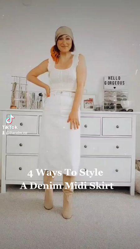 4 Ways To Style A Denim Midi Skirt  #LTKstyletip #LTKunder50 #LTKunder100