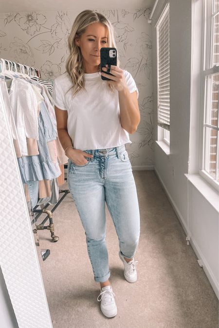 My favorite cropped white tee paired with these adorable straight jeans! An easy go to look! http://liketk.it/3dkOj #liketkit @liketoknow.it #LTKstyletip #LTKunder50 #LTKunder100