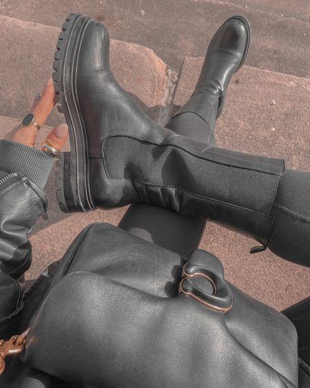 Autumn all black outfit Black long boots Black leggings Coach tabby bag   #LTKeurope #LTKSeasonal #LTKstyletip