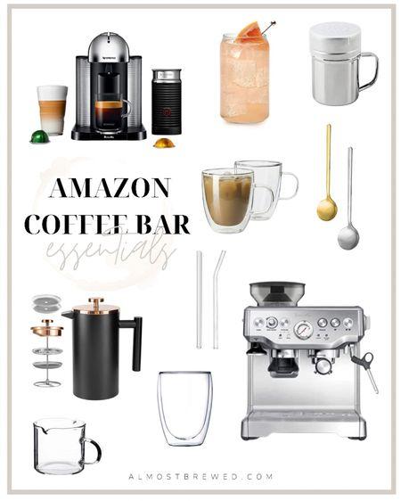 Amazon deals Amazon Coffee Bar Essentials and Must Haves  Glasses, glass, glassware, drinks, nespresso, breville, espresso maker, froth, milk froth, kitchen utensils, spoons, gold, silver, French press, reusable straw, glass straw, mugs, shakers http://liketk.it/3i6aZ #liketkit @liketoknow.it #LTKhome #LTKunder50 #LTKsalealert
