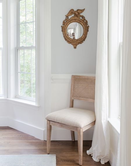 Sometimes design needs to be simple. Love the blend of the modern take on the cane chain paired with this lovely vintage gold convex mirror. If you are looking for one of these mirrors I found a few for you.   Amazon finds, vintage finds, Etsy, spring decor, Easter, dining room  #StayHomeWithLTK #LTKstyletip #LTKhome