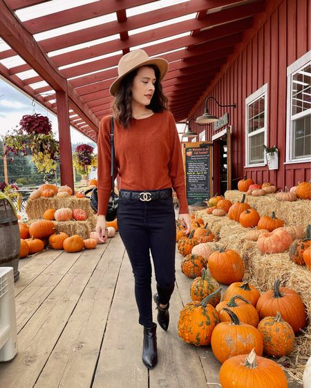 Pumpkin patch outfit 🎃 Rust colored sweater, black skinny jeans, and a classic beige fedora. (Fall style, fall outfit inspo, fall fashion, casual chic)  #LTKstyletip #LTKSeasonal