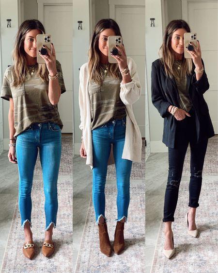 Target camo tee  Target blazer (xs) Walmart jeans.  Code JEN15 on mules and booties     #LTKunder50 #LTKworkwear #LTKstyletip