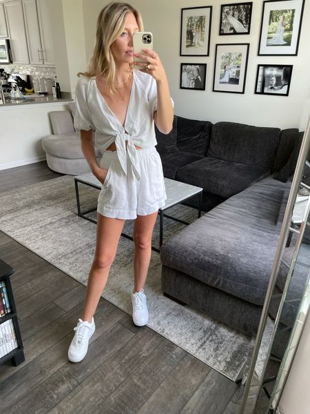LTKDAY 20% off Abercrombie. Love this matching set on sale for summer! I'm wearing a small in both.  #LTKSeasonal #LTKDay #LTKsalealert