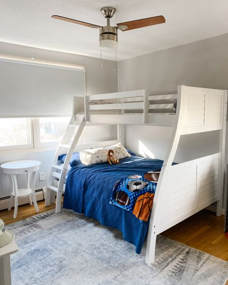 Ryder's new big boy bed! We love this bunk bed and he thinks it's the coolest sleeping in a big bed. We went with a sports theme but wanted to keep the room neutral at the same time. http://liketk.it/3a1k3 #liketkit #LTKhome #LTKkids #LTKfamily @liketoknow.it.family @liketoknow.it.home @liketoknow.it