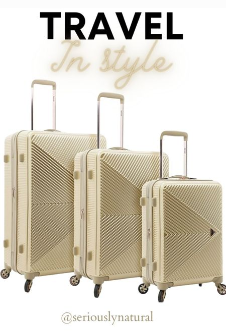 """Time to travel in style! Check out the hugely popular kensie Women's Dawn Hardside 3-Piece Spinner Luggage Set in Pale Gold.    3 PC set includes: 28"""" Check-in suitcase, 24"""" Check-in baggage, and 20"""" Carry on 4 wheels spinning luggage  #travel #luggage #luggageset #vacation #kensie"""