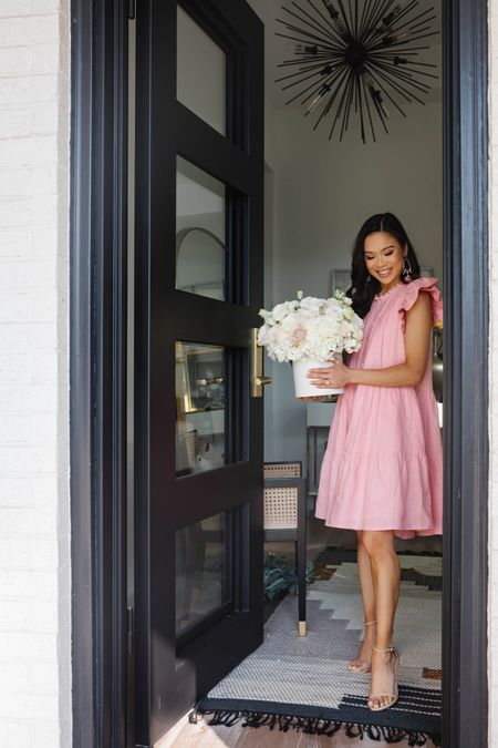 Perfect bridal shower, baby shower or date night dress! Love the quality of this dress and it's fully lined with pockets. This brand is one of my new favorites. Also linking my entryway decor including our brass door handle, wool runner rug, cane chair and Sputnik chandelier.   #LTKhome #LTKshoecrush #LTKsalealert