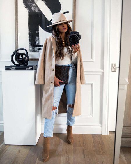 Abercrombie fall outfit on sale - take 15% off  Abercrombie camel coat Abercrombie denim Abercrombie Fedora  Marc Fisher Suede Booties    #LTKstyletip #LTKsalealert #LTKshoecrush