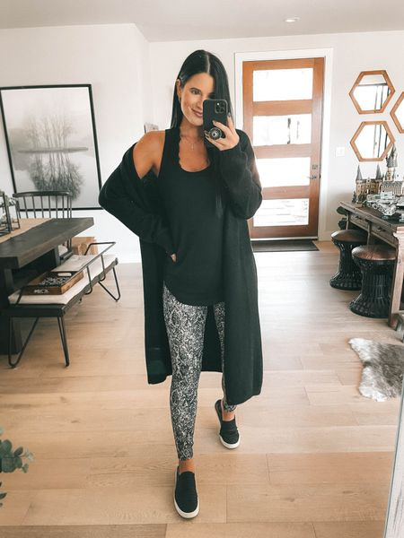 I linked a ton of black cardigan options!  I linked my black lace Bralette and my black layering tank. Go up a size in the tank! I'm wearing a large and it's only $19. Comes in multiple colors. These snake printed leggings are spanx faux leather leggings new arrivals! I'm wearing a small. Use code DTKxSPANX for 10% off your order.    #LTKstyletip #LTKunder100 #LTKsalealert