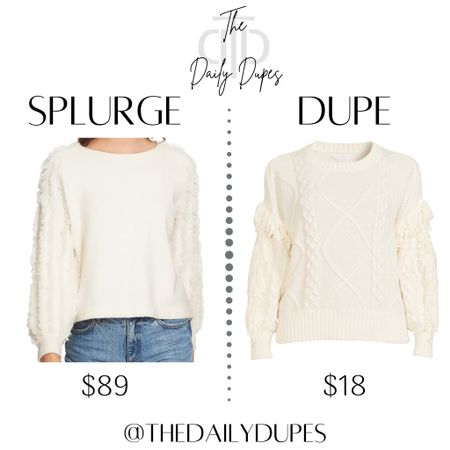 Fringe sleeve sweater #thedailydupes  #LTKSeasonal #LTKHoliday #LTKunder100