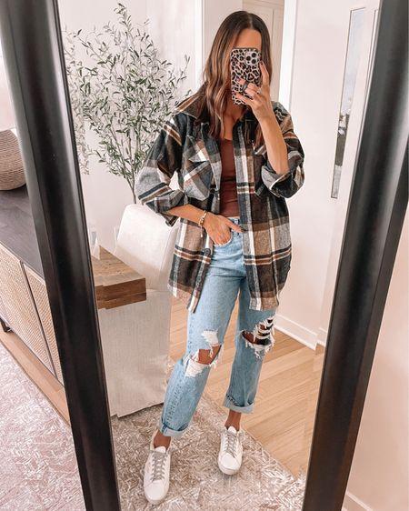 Goodnight Macaroon 40% off = TAYLOR40 Shacket: sized up to a M  Sneakers: size up  - Agolde Jeans: size down Crop tank: sized up to a M   #LTKshoecrush #LTKSeasonal #LTKsalealert