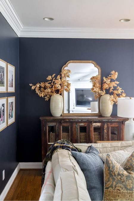 Finally decorating for fall with autumn leaf stems, artisan vase and hale navy walls!   #LTKhome