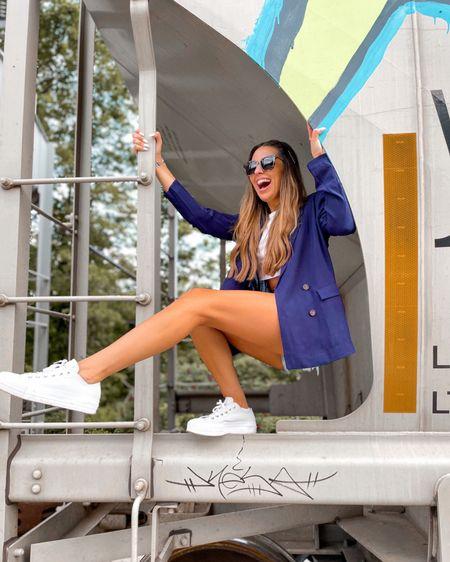 Blazer outfit with jean shorts and white crop top. Platform sneakers   http://liketk.it/3j55O #liketkit @liketoknow.it @liketoknow.it.brasil @liketoknow.it.europe @liketoknow.it.family @liketoknow.it.home #LTKshoecrush #LTKeurope #LTKbrasil