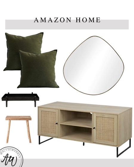 Modern rustic decor, Amazon Home finds, home decor, organic shaped mirror, wall decor, brass decor, green pillows, couch, sofa, living room, bedroom, tray, wood store, cain front media console   #LTKhome