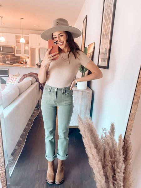Fall outfit / Paige olive green denim / brown Steve madden booties / tan ribbed bodysuit / Fall style  / Charlie Horse tan hat  #LTKSeasonal #LTKunder100 #LTKfit