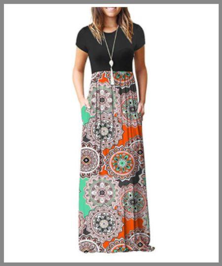 Long maxi dress from Walmart. perfect outfit for summer or transition into fall.  short sleeve dress, long dress.  #LTKSeasonal #LTKunder50 #LTKworkwear