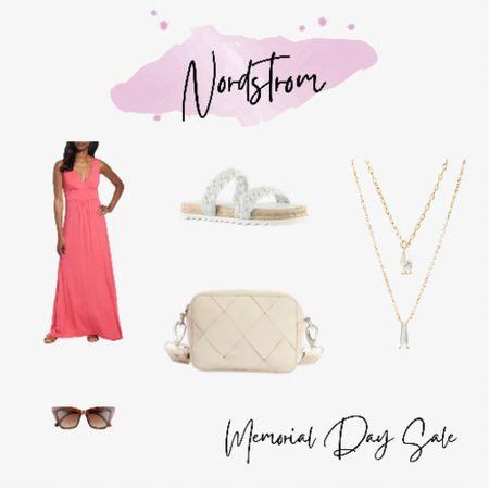Pendant necklace, crossbody bag, sunglasses, slide sandals and a beautiful maxi dress! #memorialdaysale  http://liketk.it/3gskQ #liketkit @liketoknow.it #LTKunder50 #LTKsalealert #LTKitbag