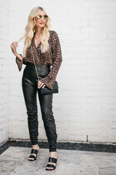 My leopard bodysuit and faux leather joggers are both part of the NSALE and still fully stocked! They both run tts, I'm wearing an XS in the top and in the joggers.   #LTKsalealert #LTKstyletip #LTKunder100