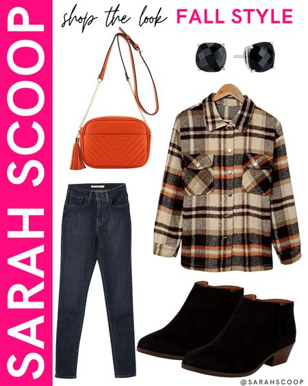 Flannels are a major Fall must-have! Check out this outfit featuring a flannel from Amazon! 🍂🧡  #flannel#jeans#purse#boots#earrings#oversizedflannel#darkwash#Levis#blackbooties#heelbooties#orangepurse#blackearrings#amazon#amazonfashion#fallfashion#fallmusthaves#fallstyle#outfitinspiration#primewardrobe  #LTKstyletip #LTKSeasonal #LTKunder100