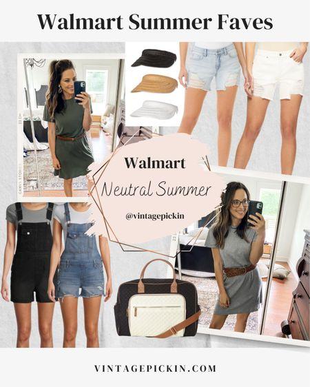 Summer Walmart Snags ➤ t-shirt dresses, visors, distressed shorts, denim overalls + this color block weekender bag! #summeraccessories #shortset #weekenderbags #visors #dresses   http://liketk.it/3hmQU #liketkit @liketoknow.it   @liketoknow.it.home @liketoknow.it.family #LTKDay #LTKunder50 #LTKstyletip