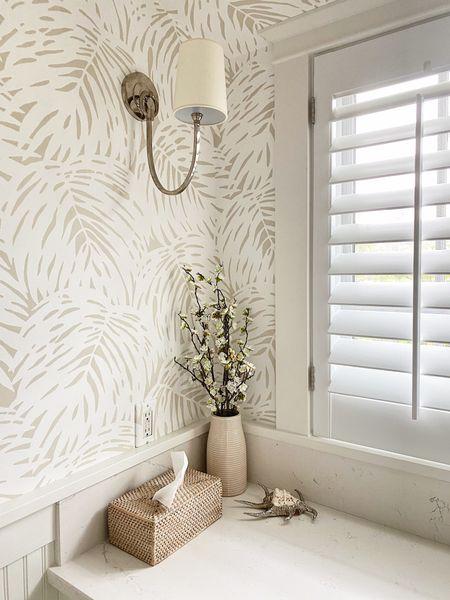 Pretty little corner of our bathroom wallpaper ideas   #LTKhome #LTKunder50 #LTKstyletip