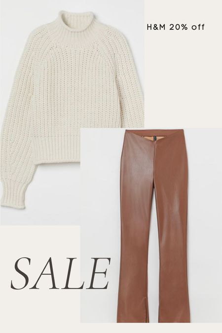 H&M 20% off sale, fall outfit, winter outfit, faux leather flare pants, knit mock neck sweater, cozy   #LTKstyletip #LTKunder100 #LTKsalealert