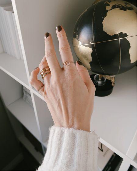 Gold dainty jewelry. The heart shaped ring is perfect for Valentine's Day #LTKsalealert   http://liketk.it/36JSy #liketkit @liketoknow.it #LTKunder50 #LTKVDay